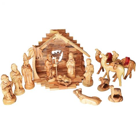 Deluxe Olive Wood Nativity Set with Camels - Made in Bethlehem - 12.5 inch