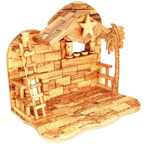 Musical Nativity Stable Only - in Olive Wood from Bethlehem