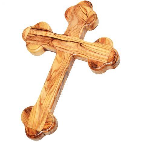 Orthodox Cross made in Bethlehem from Olive Wood - 7""