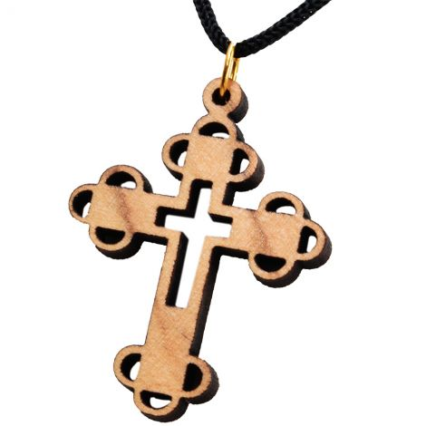 Olive Wood 'Orthodox Cross' Necklace - Made in the Holy Land