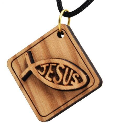Olive Wood 'Jesus Fish' on Plaque Christian Pendant from Jerusalem