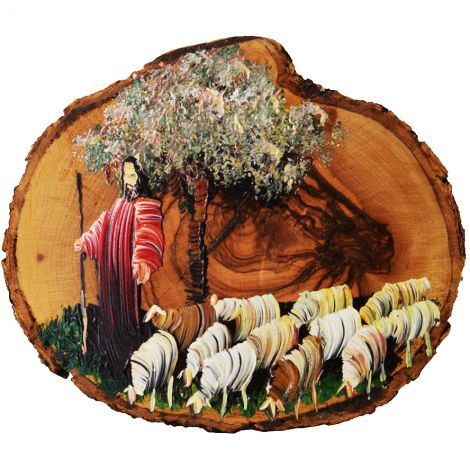 The Good Shepherd in Red - Jesus Oil Painting on an Olive Wood Slice
