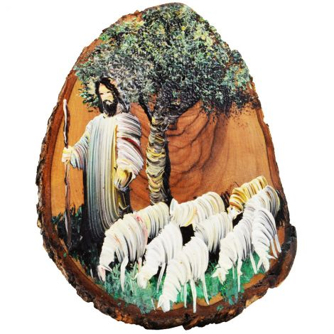 The Good Shepherd in White - Jesus Oil Painting on an Olive Wood Slice