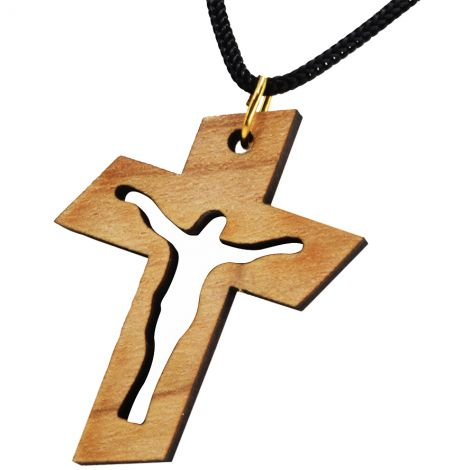 Olive Wood 'Resurrection Cross' Necklace - Made in the Holy Land