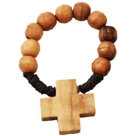Olive Wood Rosary Ring with Jerusalem Cross from the Holy Land