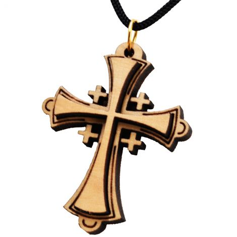 Olive Wood 'Roman Catholic Cross' Necklace - Made in the Holy Land