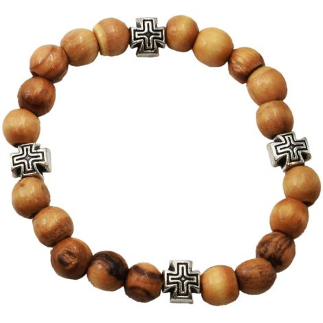Olive Wood Rosary Bracelet with Metal 'Jerusalem Cross' Beads