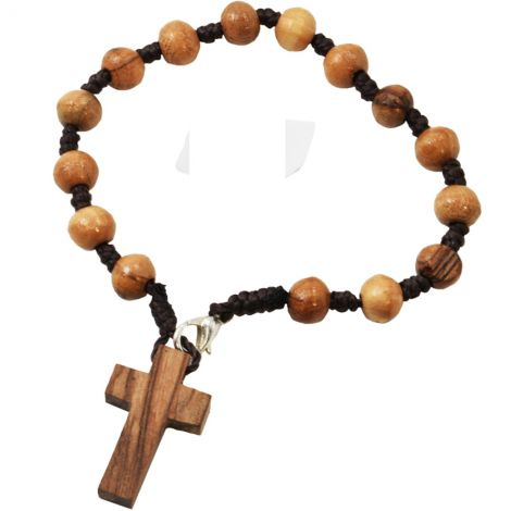 Olive Wood Rosary Bracelet with Cross - Made in the Holy Land