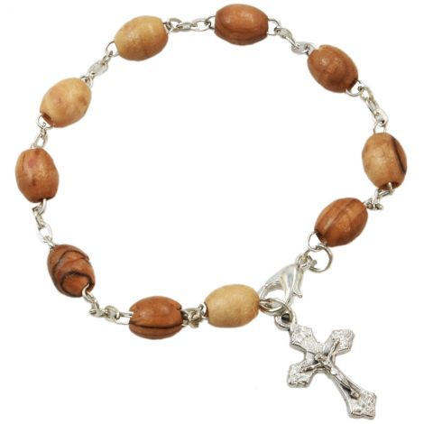 Olive Wood Rosary Bracelet with Crucifix - Made in Jerusalem