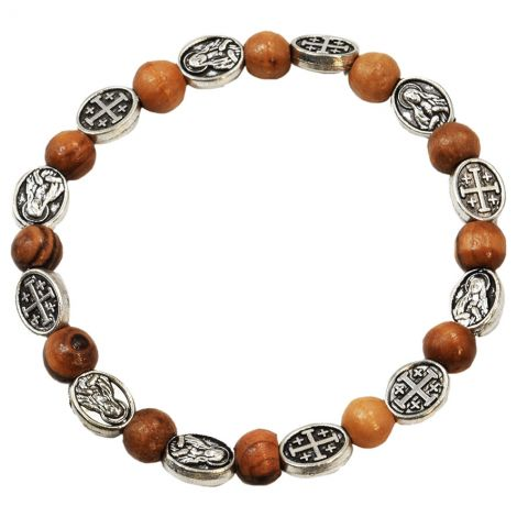 Olive Wood Rosary Bracelet with Metal 'Jerusalem Cross and Mary'