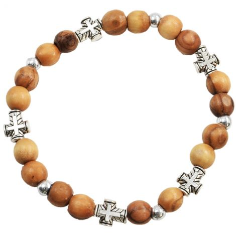 Olive Wood Rosary Bracelet with metal '2 Tone' Cross Beads