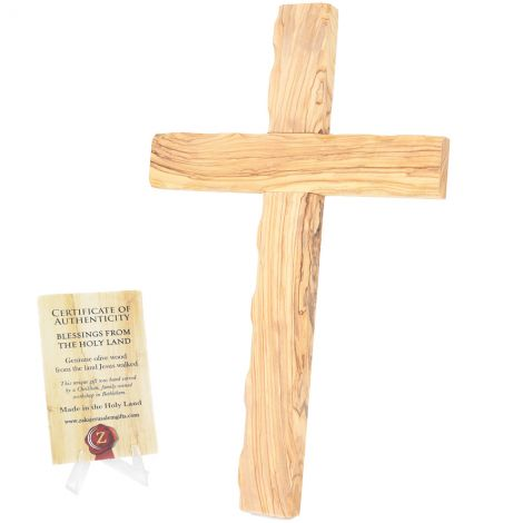 """""""The Old Rugged Cross"""" Carved from Aged Olive Wood in Israel - 14"""""""