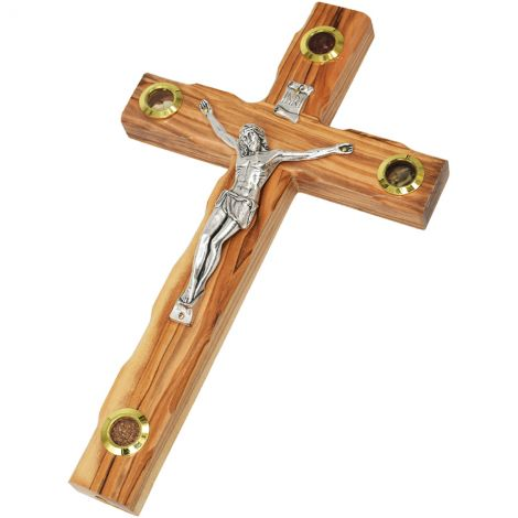 "Olive Wood Cross Crucifix - 3 Incense & Soil Wall Hanging - 10"" inch"