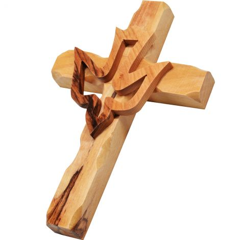 """Olive Wood 'Rugged Cross' With Holy Spirit Dove from Bethlehem - 5"""""""