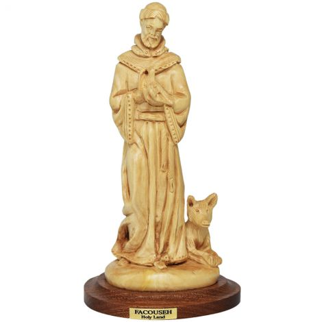 Saint Francis of Assisi' Olive Wood Carving - Made in the Holy Land