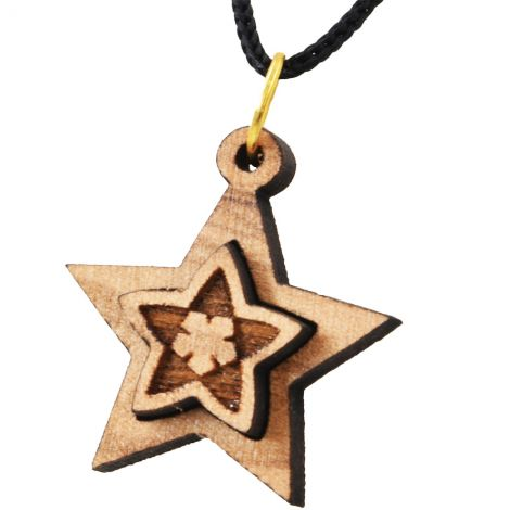 Olive Wood Star 3D Necklace - Made in the Holy Land