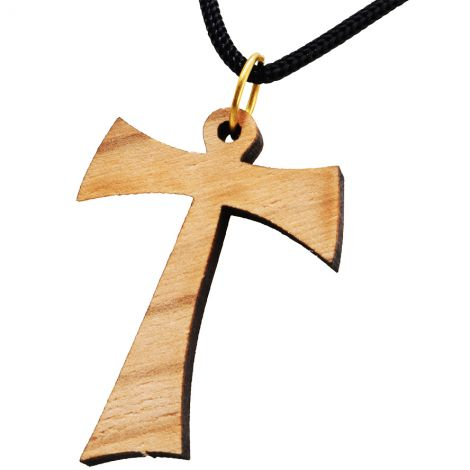 Olive Wood 'Tau Cross' Necklace - Made in the Holy Land