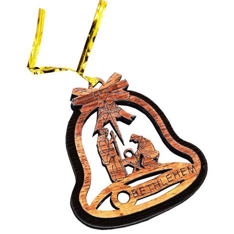 Christmas Tree 'Nativity Bell' Olive Wood Decorations