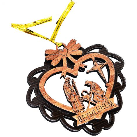 Christmas Tree 'Nativity Heart' Olive Wood Decorations