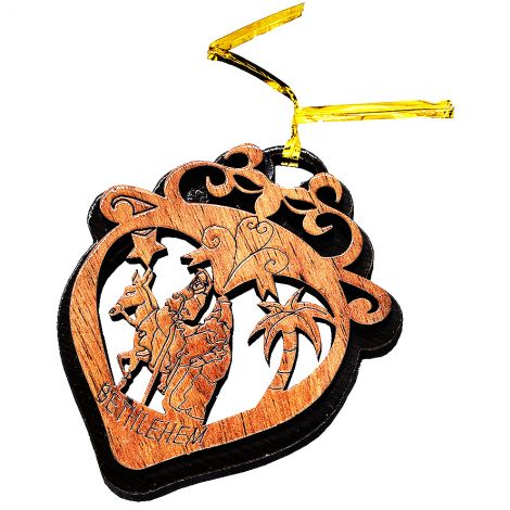 Christmas Tree 'Flight to Egypt in a Heart' Olive Wood Decorations