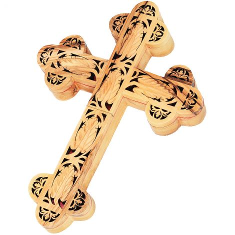 "Carved Olive Wood Wall Cross ""True Vine"" Made in Bethlehem"