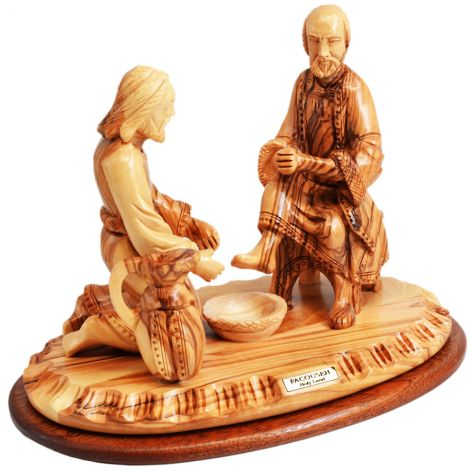 """Jesus Washing the Feet of Peter' Olive Wood Ornament - 8.5"""" (ANGLE VIEW)"""