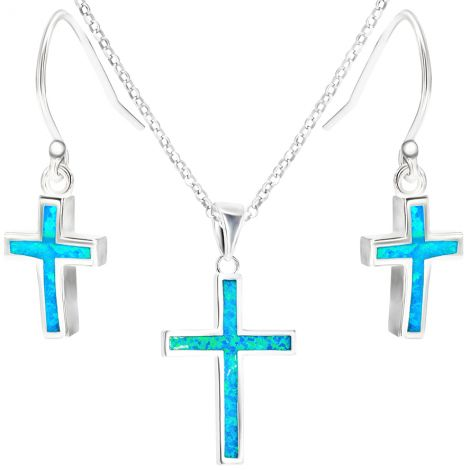 ✞ Classic Opal in Sterling Silver Cross Jewelry Set - Size Options