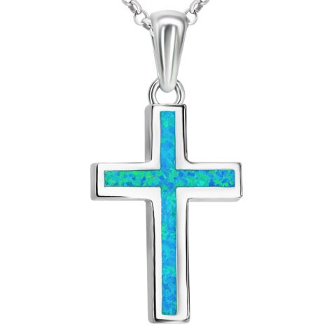 ✞ Classic Opal in Sterling Silver Cross Necklace - small size