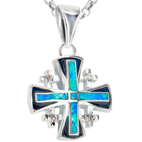 'Jerusalem Cross' Sterling Silver and Opal Pendant with Zirconia