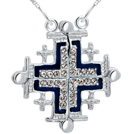 Jerusalem Cross' Opening Necklace - Zircon in 925 Silver - Blue