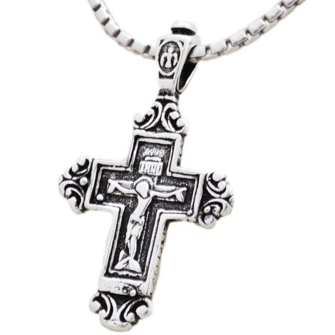 Crucifix Pendant with 'Jesus and Mary' on the back - 925 Silver