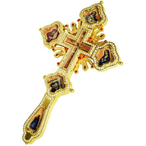 Orthodox 'Blessing Cross' Jeweled and Gold Plated with Crucifix