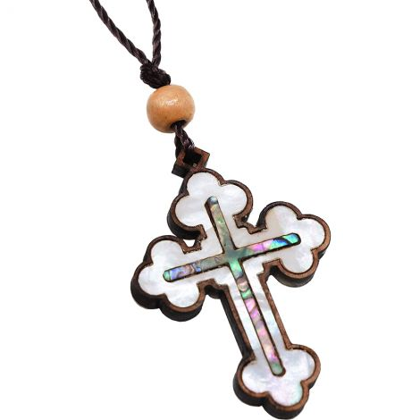 Olive Wood 'Orthodox Cross' Necklace - Mother of Pearl