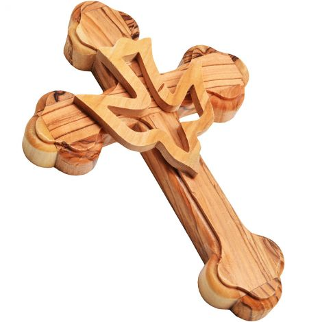 Orthodox Olive Wood Cross With Holy Spirit Dove - 5""