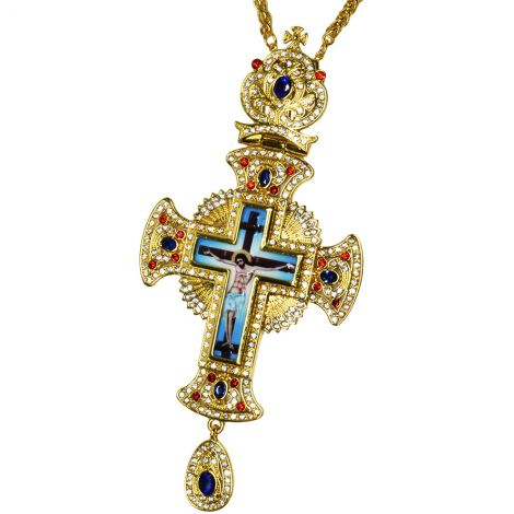 Bishop's Pectoral Crown Cross with Red and Blue Jewels