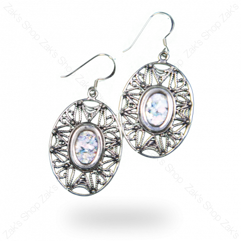 Oval Roman Glass Earrings Silver - Made in Israel