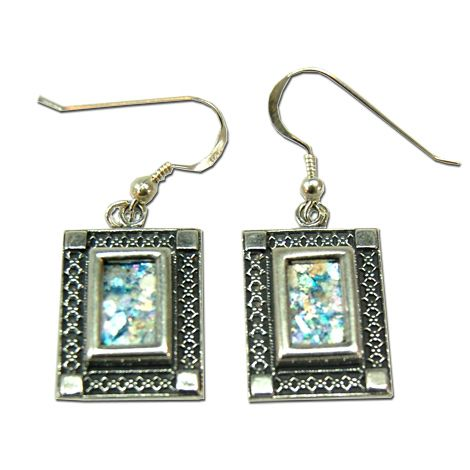 Roman Glass Earrings - Sterling Silver - Square