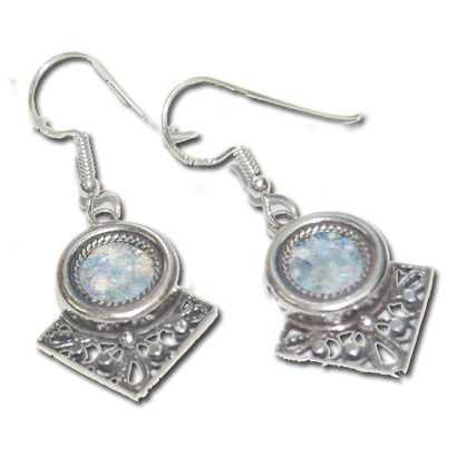 Roman Glass Earrings - Sterling Silver - Made in Israel
