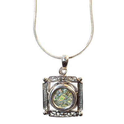 Square 'Roman Glass' Pendant - Decorated Sterling Silver Frame