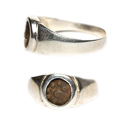Genuine Widow's Mite in Silver Ring - Made in Jerusalem
