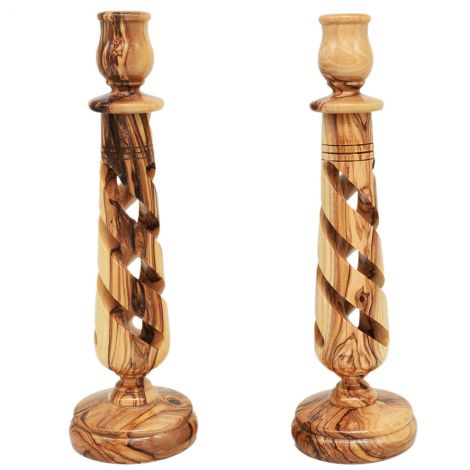 """Pair of Olive Wood Spiral Candle Holders from Jerusalem - 10"""""""