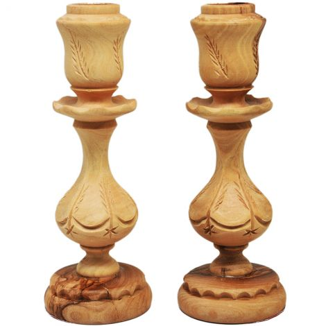 Carved Olive Wood Decorated Candle Holders from Jerusalem - 6.5""