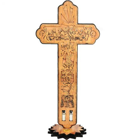"""'The Passion of Christ' on an Olive Wood Cross with Incense - 14"""""""