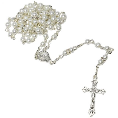 Pearly White Ball Rosary Beads with 'Virgin Mary' Icon