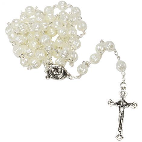 Pearly White carved Rosary Beads with 'Virgin Mary' Icon