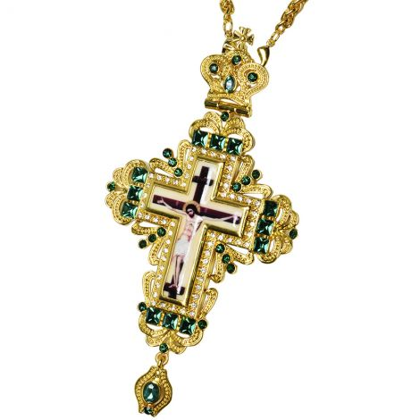 Bishop's Pectoral with Green Jewels and Zircon Cross with Crucifix