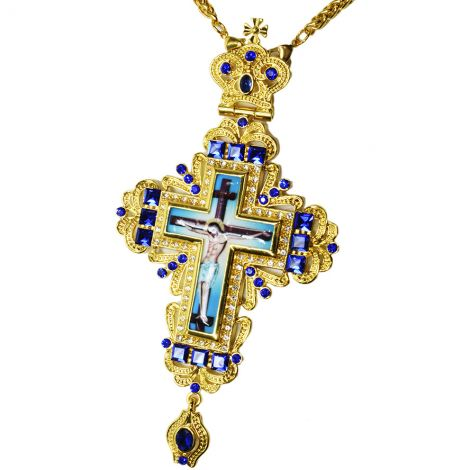 Bishop's Pectoral Cross with Blue Square Jewels