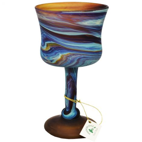 """Phoenician Glass Wine Goblet - Made in the Holy Land - 6.5"""""""