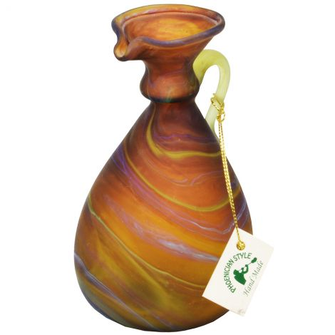 """Phoenician Glass Oil Jug with Handle - Made in the Holy Land - Browns 5.5"""""""