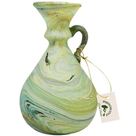 Phoenician Glass Oil Jug with Handle - Made in the Holy Land - Greens 5.5""